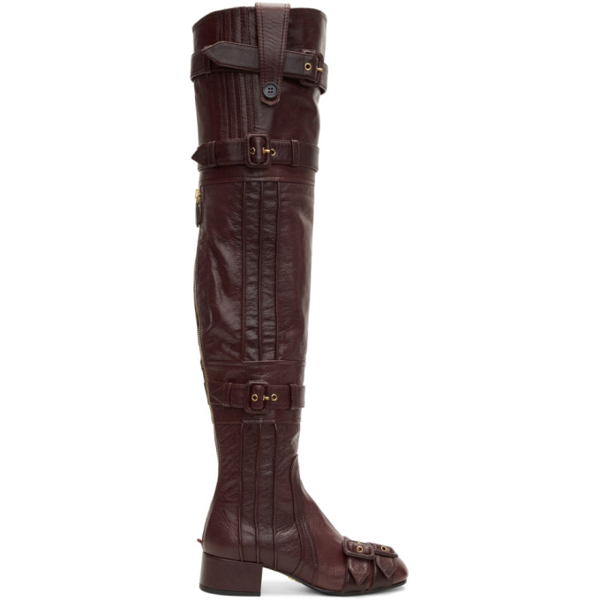 Prada Burgundy Buckle Over-the-knee Boots In Brown