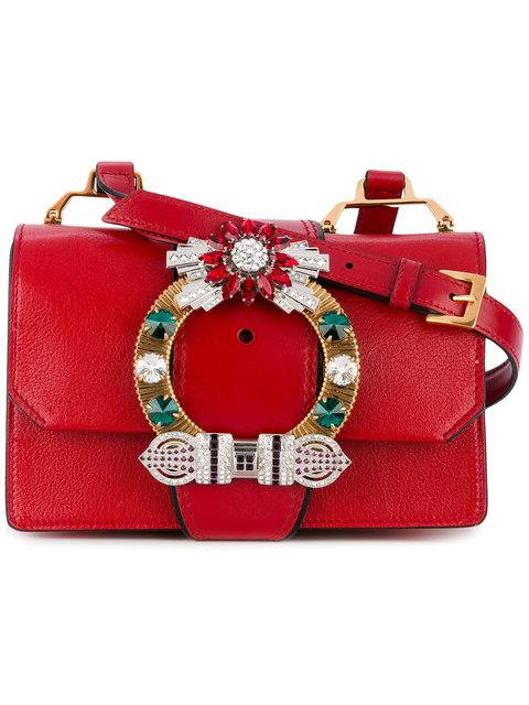 a2c295bb740a Miu Miu Madras Crystal Embellished Leather Shoulder Bag - Red