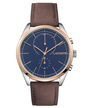 Lacoste Men's Chronograph San Diego Brown Leather Strap Watch 44mm