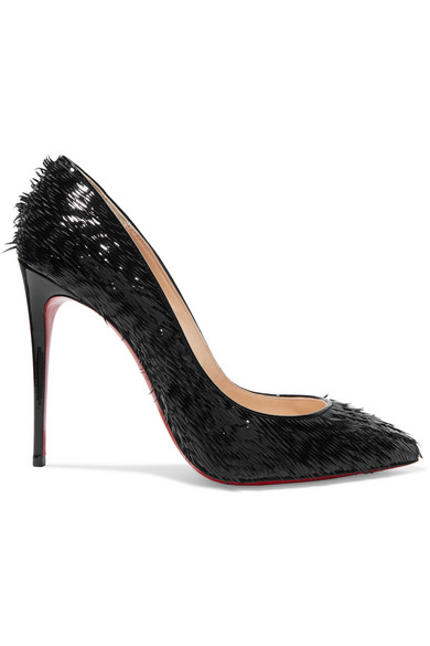 eaa7f5b0ebb Pigalle Follies 100 Fringed Patent-Leather Pumps in Black