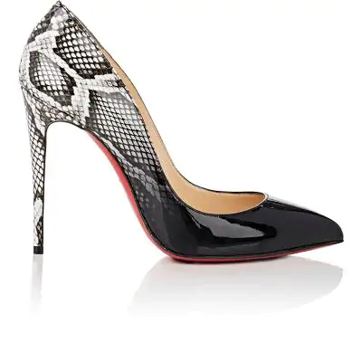 official photos 0ad34 3933e Pigalle Follies Ombre Snake-Print Red Sole Pump in Black-Roccia