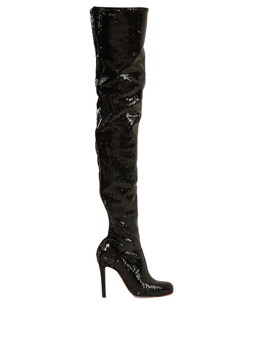 109937df2cf Christian Louboutin Louise 100 Sequined Leather Over-The-Knee Boots In Black