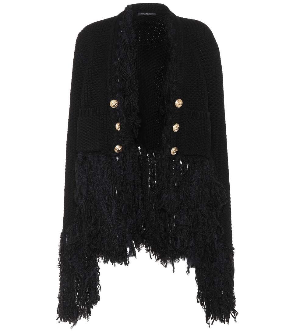 Balmain Button-embellished Cardigan In C0100 Noir