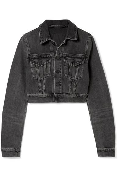 Alexander Wang Denim X  Shrunken Jean Jacket In Grey