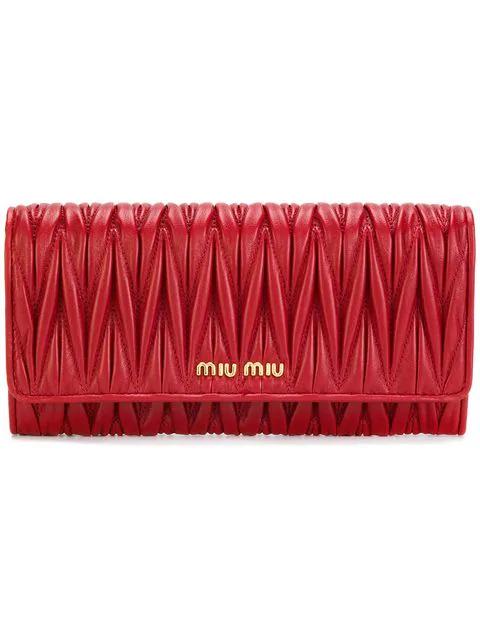 733c3877cd63 Miu Miu Matelassé Foldover Wallet - Red | ModeSens
