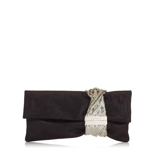 3f589ac3f0f Jimmy Choo Chandra Black Shimmer Suede Clutch Bag With Chainmail Bracelet