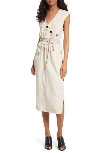 b8fc42ae7e Tracy Reese Side Button Midi Dress In Cement