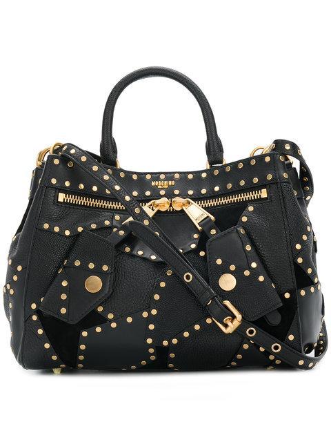 bbfea9e229 Moschino Embellished Leather Shoulder Bag In Black | ModeSens