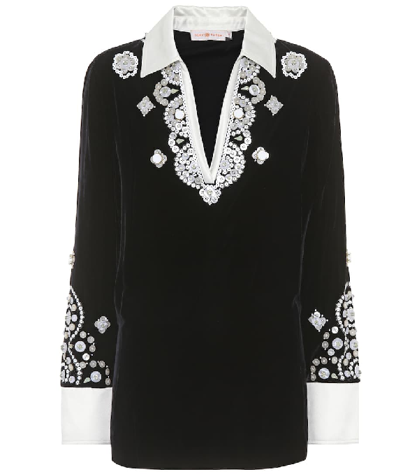 e6a73e85f603 Tory Burch Hadley Plush-Velvet Embroidered Tunic In Black | ModeSens