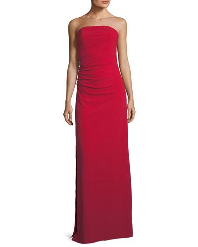 ad6cf5d30bb Halston Heritage Strapless Ruched Bodice Crepe Column Evening Gown In  Carmine