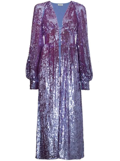 Attico Long Sleeve Sequin Embellished Robe In Purple