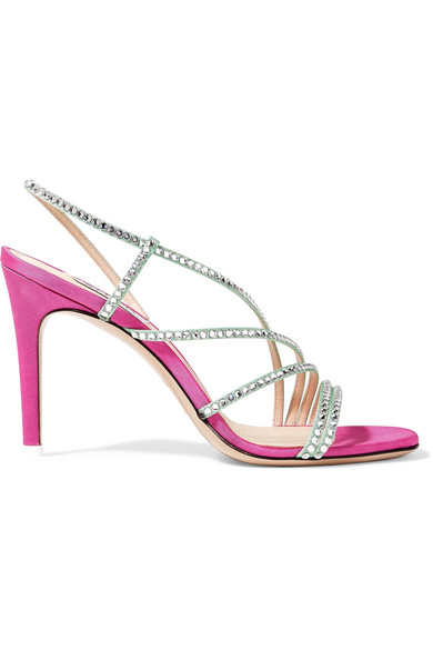 Attico Baby Crystal-embellished Moire Slingback Sandals In Pink