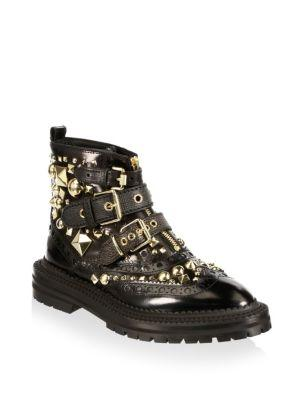 Burberry Women's Everdon Leather Studded Buckle Booties In Black