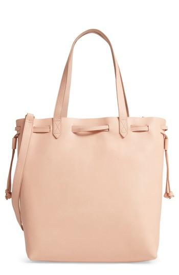c3ad14085302 Madewell Medium Drawstring Transport Leather Tote - Pink In Tinted Blush
