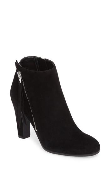 7b03955f88da A gleaming zipper angles up the side of a suede bootie shaped with a  classic almond toe and a stately demi-block heel. Style Name  Sam Edelman  Sadee Angle ...