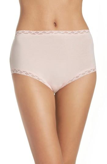 84faf7fbb746 Natori Bliss Lace-Trim High Rise Cotton Brief 755058 In Blushing Pink