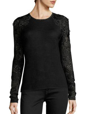 Elie Tahari Elm Applique Merino Wool Sweater In Black