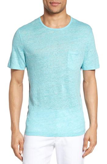Zachary Prell Monad Colorblock Linen T-shirt In Aqua