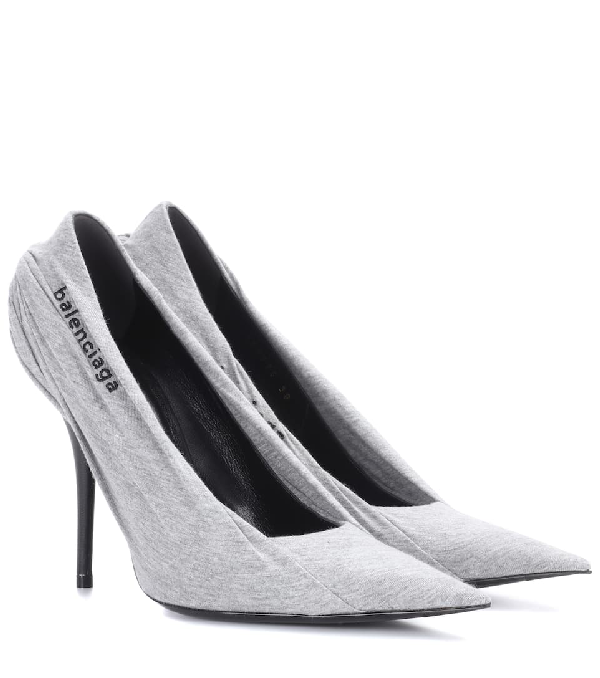 5b41b7929b8c Balenciaga Knife Logo-Embroidered Jersey And Leather Pumps In Gray ...