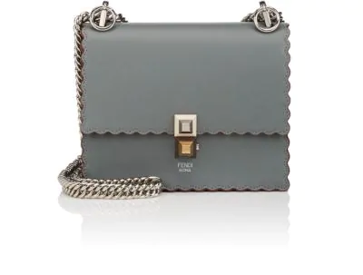 Fendi Kan I Small Leather Scalloped Shoulder Bag In Green