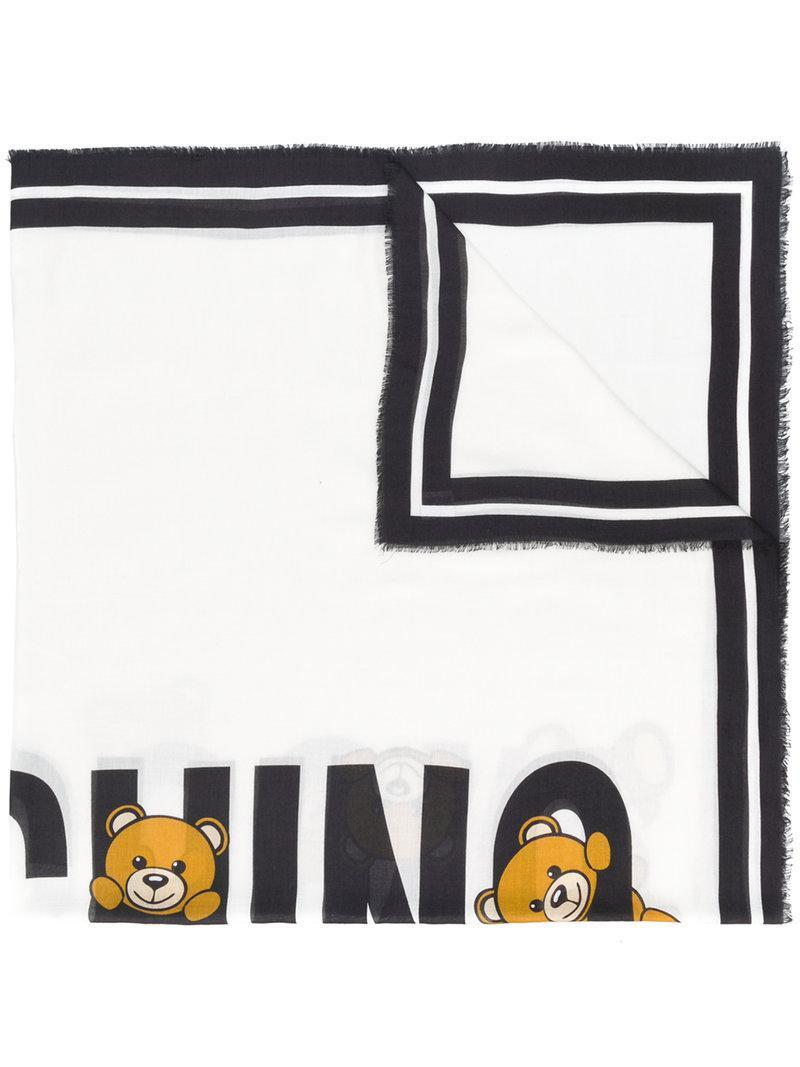 Moschino Teddy Logo Print Scarf In White