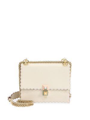 0422940345ea Fendi Mini Kan I Scalloped Leather Shoulder Bag - Beige In Multi ...