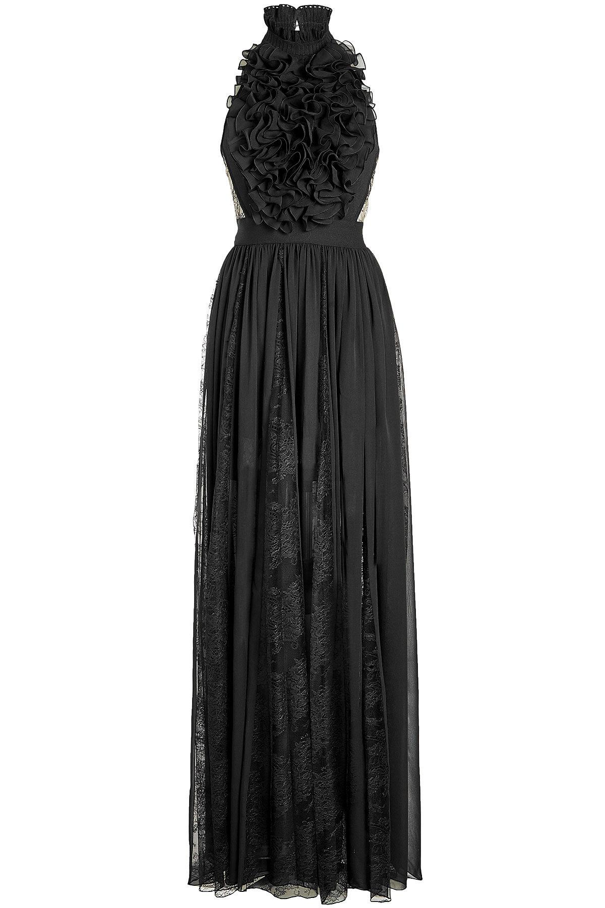 Elie Saab Floor Length Gown With Silk And Lace In Black