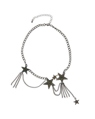 Romeo & Juliet Couture Pavé Rhinestone Star Chain Choker Necklace In Black
