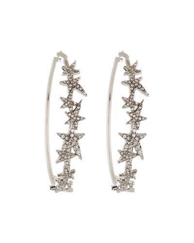 Romeo & Juliet Couture Pavé Glass Star Hoop Earrings In Silver