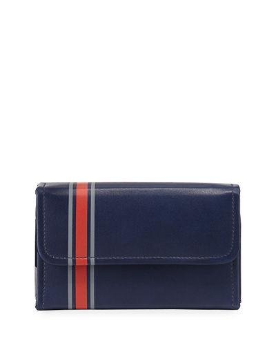 Neiman Marcus Striped Faux-leather Playing Card Set In Navy