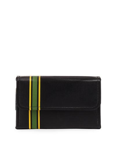 Neiman Marcus Striped Faux-leather Playing Card Set In Black