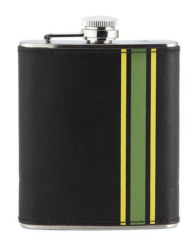 Neiman Marcus Striped Stainless Steel Flask In Black