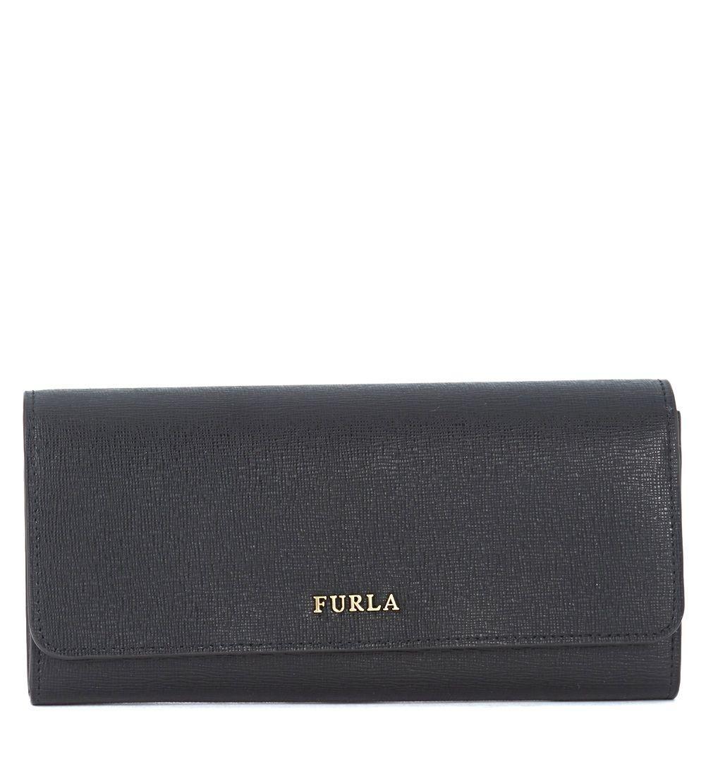 Furla Babylon Bi-fold Black Saffiano Leather Wallet In Nero