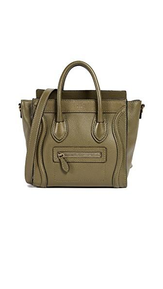 Celine Drummed Luggage Nano Bag (previously Owned) In Green