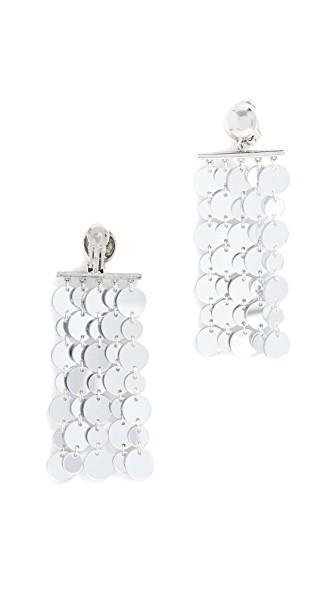 Oscar De La Renta Hammered Circle Drop Clip On Earrings In Silver