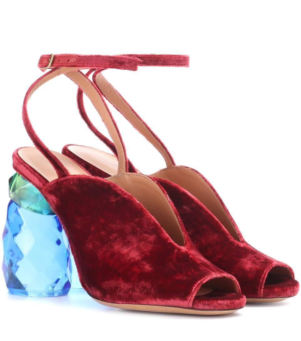 Dries Van Noten Velvet Sandals In Red