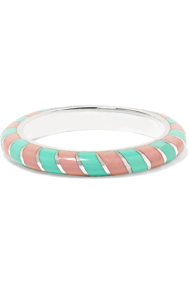 Alice Cicolini Candy 18-karat White Gold Enamel Ring In Turquoise