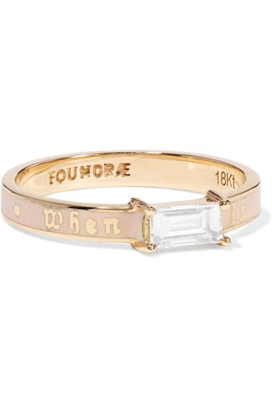 Foundrae If Not Now Then When 18-karat Gold, Diamond And Enamel Ring