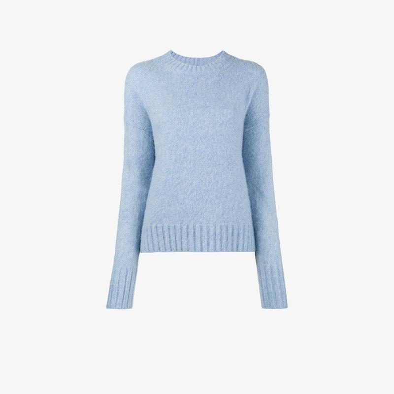 Helmut Lang Oversized Boucle Jumper In Blue