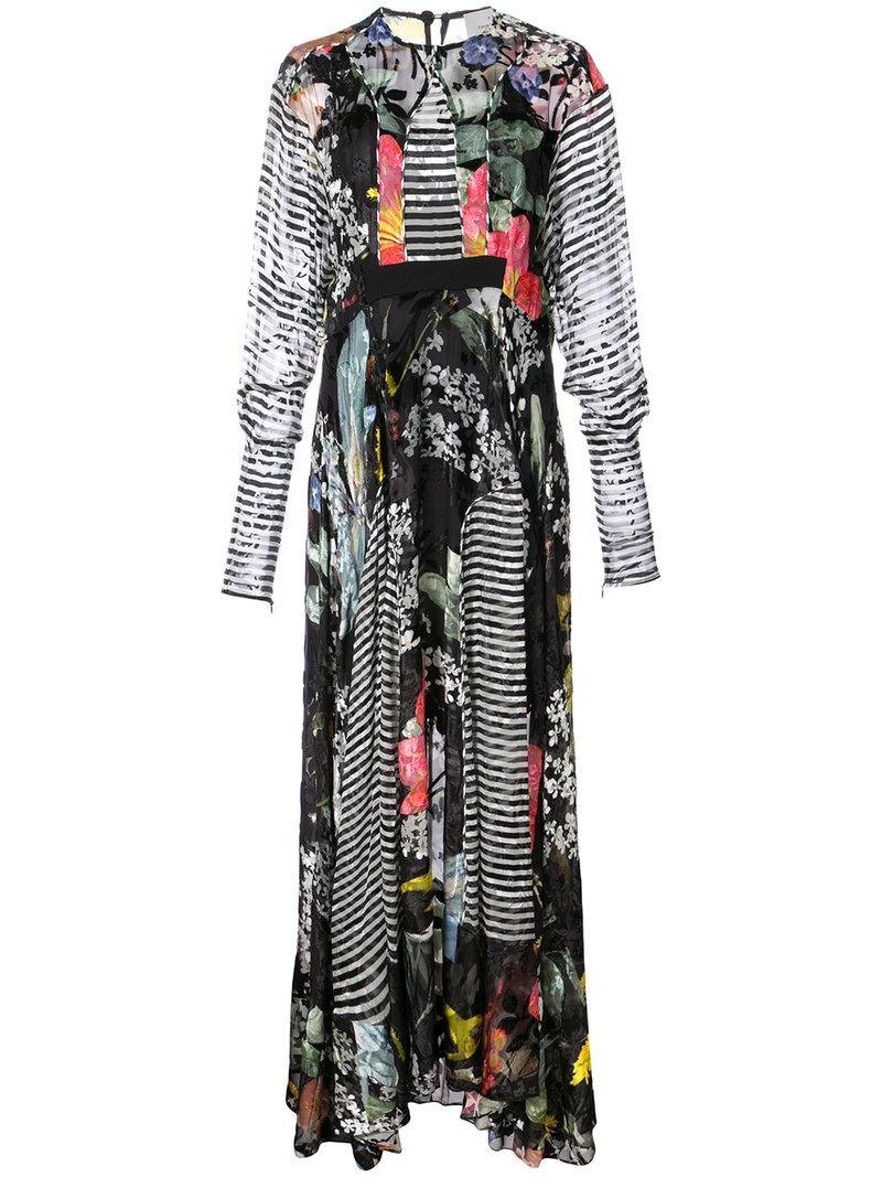 Preen By Thornton Bregazzi Printed Flared Maxi Dress