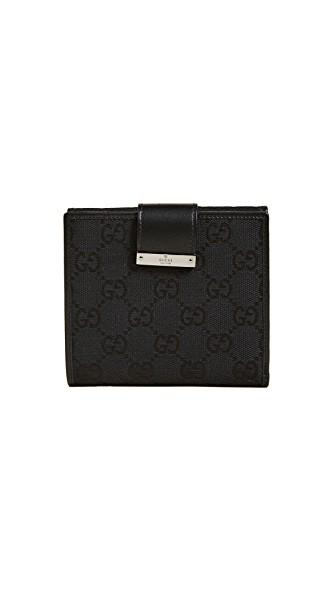 Gucci Canvas Bifold Wallet (previously Owned) In Black
