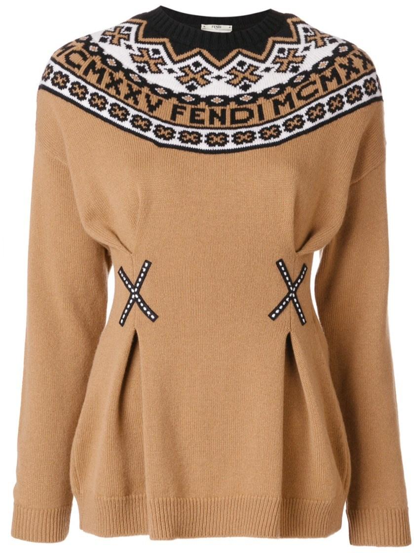 Fendi Wool And Cashmere Sweater In Phosphorus