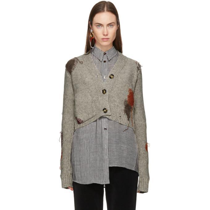 Acne Studios Lysa Distressed Wool Button Cardigan In Stone Beige
