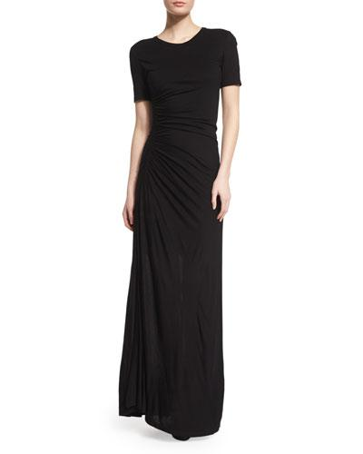 A.l.c Laila Short-sleeve Ruched Maxi Dress, Black In Dark Heather Grey