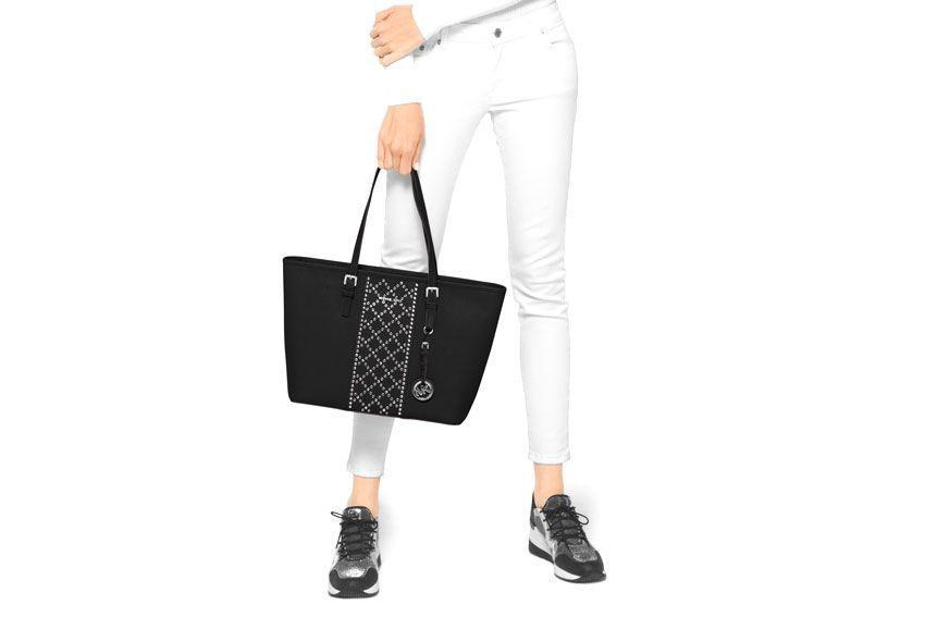 Michael Michael Kors Jet Set Travel Media Tote Bag With Studs In Black
