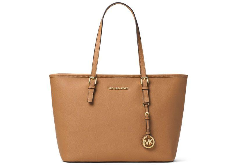 Michael Michael Kors Jet Set Travel Bag In Saffiano Leather In Nut