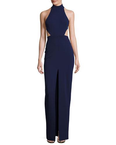 Solace London Piper Sleeveless Cross-back Maxi Dress, Navy