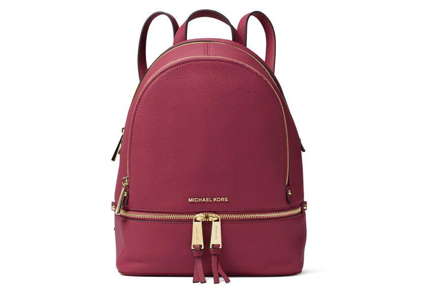 Michael Michael Kors Rhea Middle Leather Backpack In Red