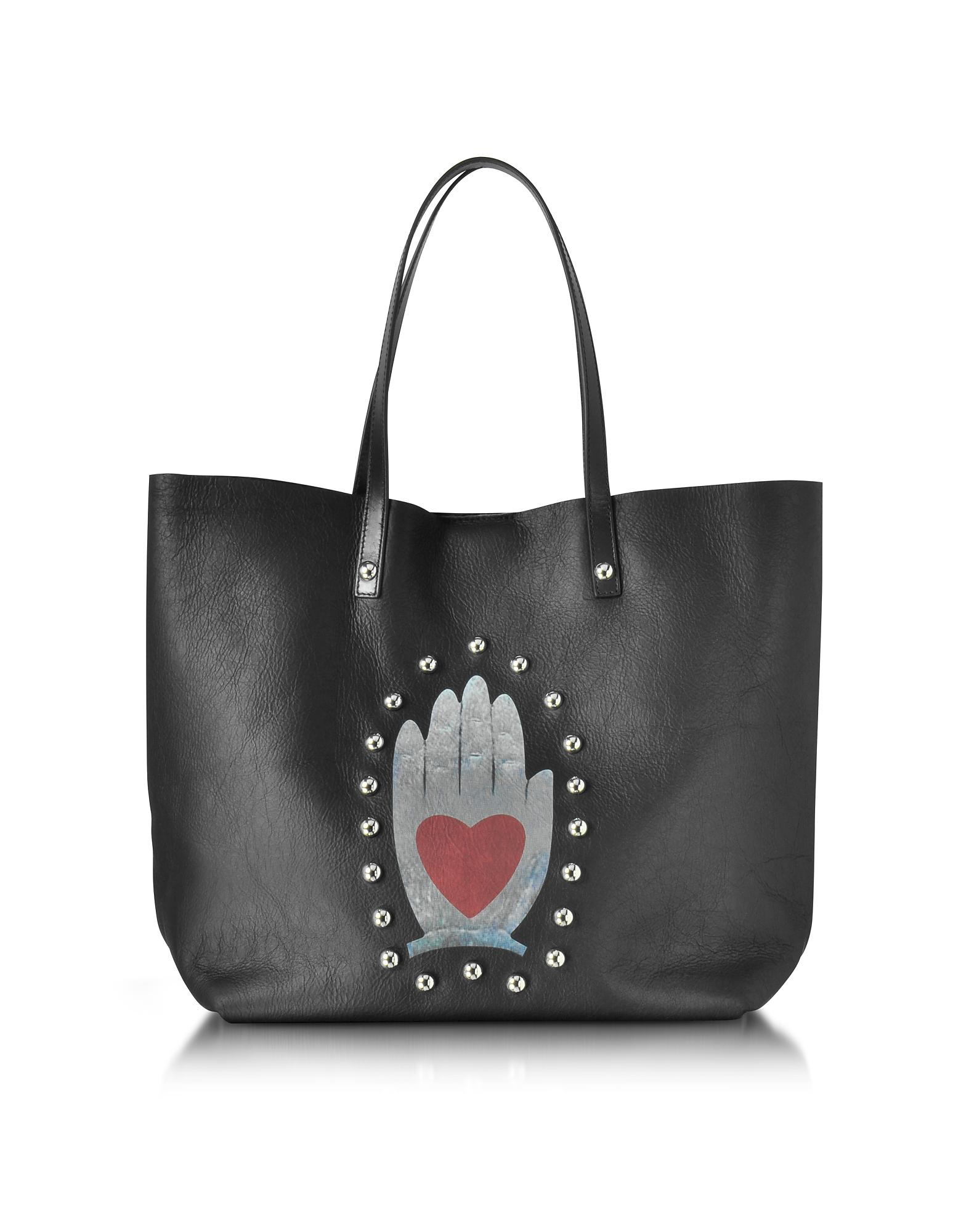Red Valentino Black Leather Tote Bag
