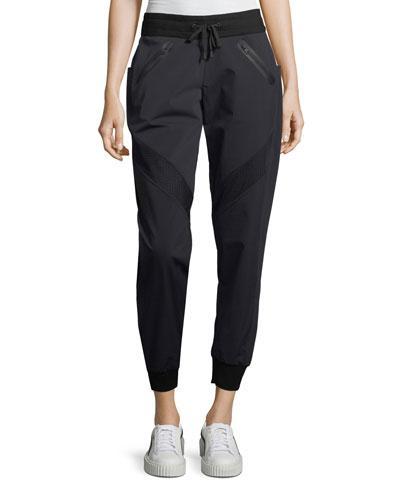 Blanc Noir Vibe Paneled Jogger Pants In Black/gray